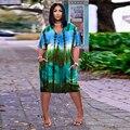 Gradeint Krawatte Färben Drucken Beiläufige Lose Kleid Frauen Tiefe V Hals Kurzarm Geraffte Midi Kleid High Street Seite Taschen vestidos
