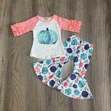 Baby Girl roupas meninas do Dia Das Bruxas abóbora roupas com calças fundo sino meninas boutique de roupas