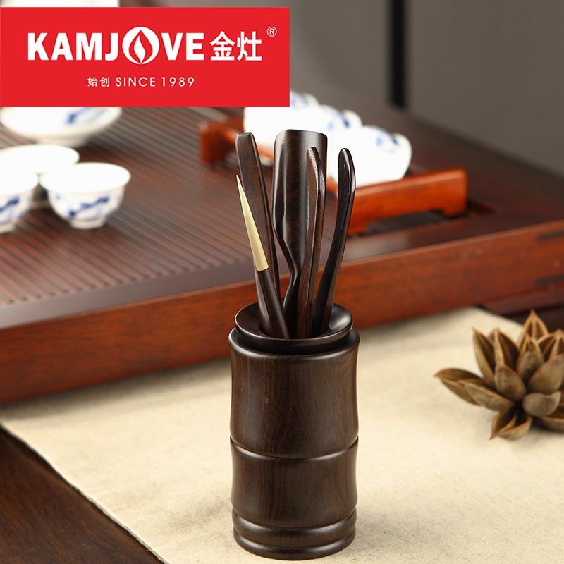 [GRANDNESS] Kamjove Chinese Cha Dao Set 6 Pieces Ebony Tea Set Kung Fu Tea Accessories Tea Ceremony Utensils Six Gentleman
