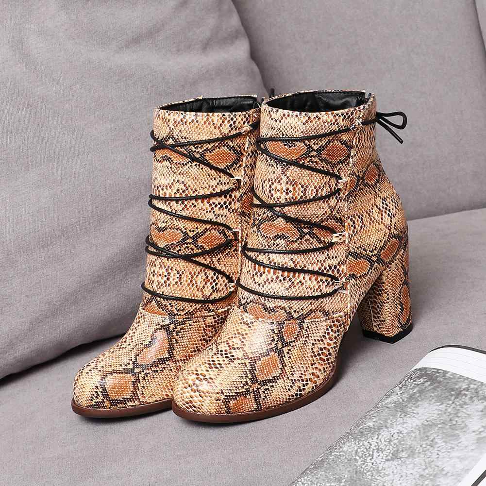 KARINLUNA zarif bayan 2020 kış rahat yılan baskı botları ince kemer yüksek topuklu çizmeler kadın ayak bileği ayakkabı kadın