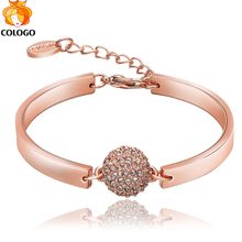 Big 95% Off! COLOGO 100% Pure Original Gold Filled Chain Bangle Wedding Bone Fit European Charm Bracelet for Women Jewelry Gifts