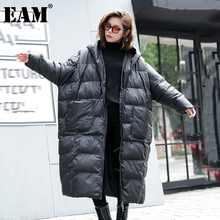 [EAM]  Oversized Long Hooded Cotton-padded Coat Long Sleeve Loose Fit Women Parkas Fashion Tide New Autumn Winter 2021 JD1210