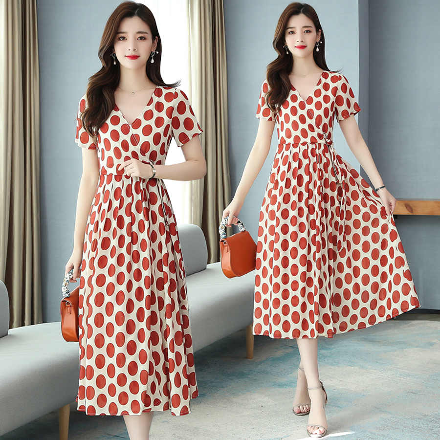 2021 elegante red dot chiffon chic midi kleid frühling sommer 3xl plus  größe kurze vintage runway kleid frauen bodycon party vestidos