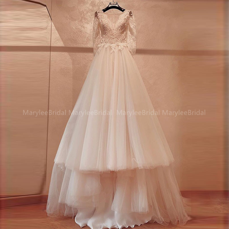Elegant A-line Wedding Dresses Chapel Train Full Sleeves White Ivory Vestidos De Noiva Appliques Bridal Dresses Robe Mariage New