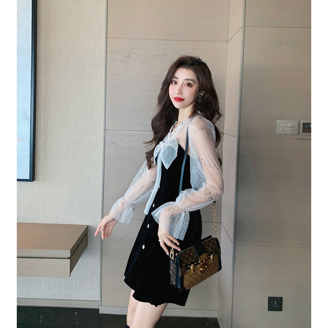 COIGARSAM Women one-piece dress korean New Dresses Black 8950 4