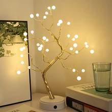 Night Light Home Decoration Bonsai Style Party Cherry Tree Shape LED Light DIY Firework Christmas Gift Plants Switch Copper(China)