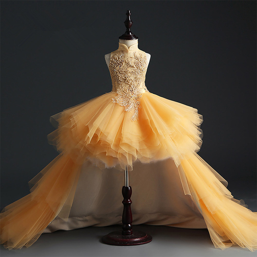 HS Kellio Flower Girl Dress Orange Ball Gown Tulle High Low Pageant Dresses Fashion Floor Length - 3