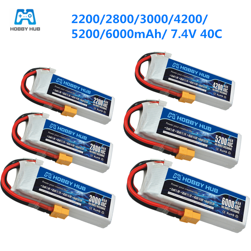 <font><b>2s</b></font> with XT60 Plug 40C 2200mah <font><b>2800mah</b></font> 3000mah 4200mah 5200mah 6000mah 7.4v 40C <font><b>lipo</b></font> battery For RC Car Airplane Helicopter 7.4V image