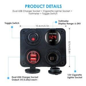 Сигарета Зарядное устройство гнездо с разъемом 12 V-24 V 2 Порты и разъёмы зарядных порта USB для автомобиля Зарядное устройство Выход со светоди...