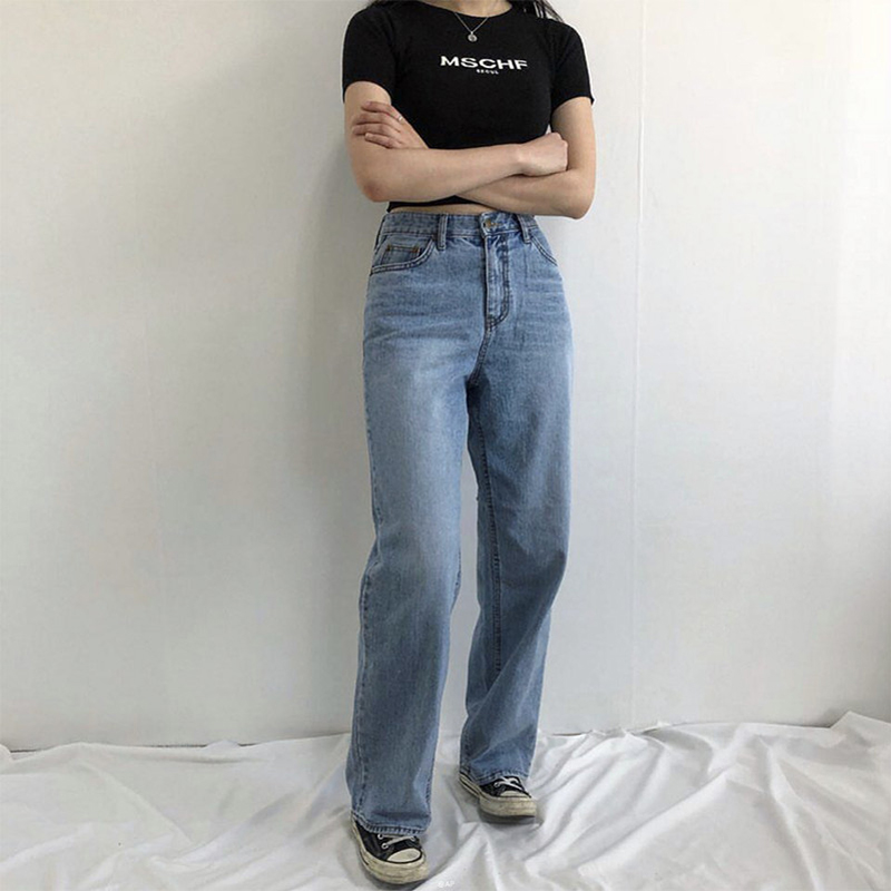 2019 Autumn And Winter New Street Fashion High Waist Loose Wide Leg Jeans Women, Wild Slim Straight Casual Pants Jeans Women