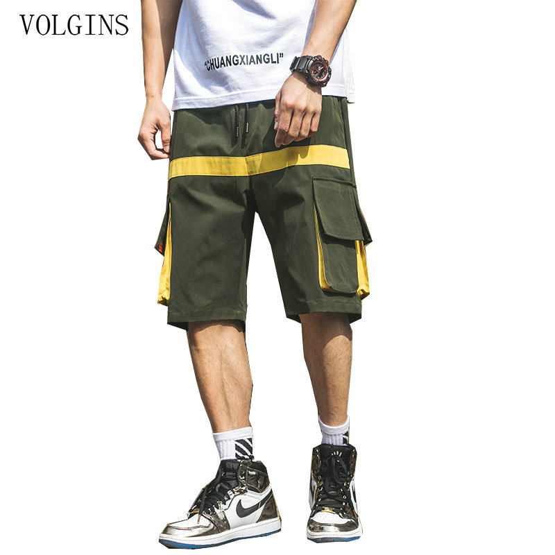 Streetwear Men Summer Hip Hop Harem Shorts Knee Length Casual Shorts Mens Big Pockets Black Cargo Shorts Plus Size 2020 New