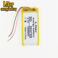 3 line 3.7V 700mAh [303759] Polymer lithium ion / Li-ion battery for bluetooth earphone samrt watch GPS mp3 mp4 speaker