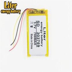 3 linia 3.7V 700mAh [303759] polimerowy akumulator litowo-jonowy/litowo-jonowy do słuchawek bluetooth  zegarek samrt  GPS mp3 mp4  głośnik