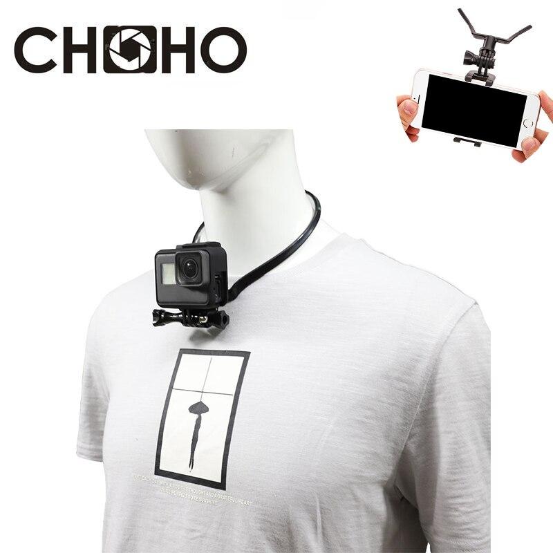 Для Gopro аксессуары крепление на шею ремешок + держатель для телефона Vlog для Go Pro Hero 9 8 7 6 5 Xiaomi yi 4K SJCAM EKEN iphone
