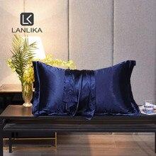 Lanlika Luxury  Men 100% Silk Blue Beauty Pillowcase Healthy Bed Pillow Case Home Textile Healthy Pillow Cover Free Shipping