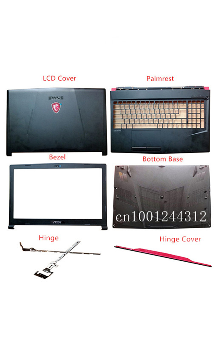 New Original For MSI GL63 GP63VR MS-16P4  LCD Rear Top Lid Back Cover / Bezel / Palmrest / Bottom Base / Hinge Cover