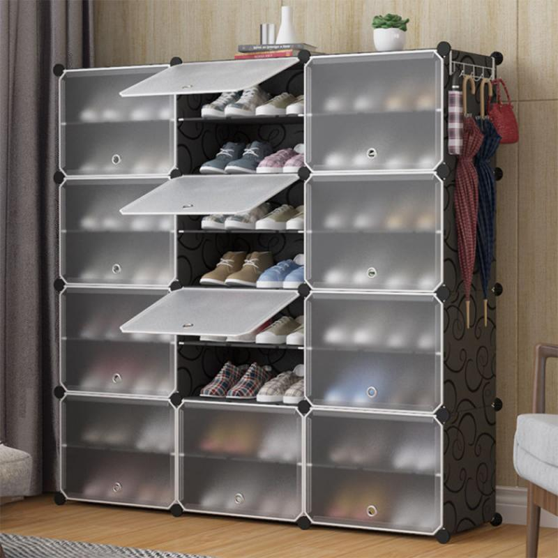 Shoe Cabinet Wardrobes Shelf With Plastic Doors 12 Cubes Easy To Assemble, Convenient Storage Shelf 120x120x30cm HWC