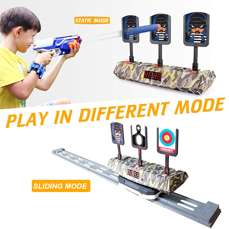 Move Run Air Bullet Gun Nerf Auto Reset Electric Score Shot Shoot Target Mobile Dart Game Toy Toys For Child Kids Children Gift