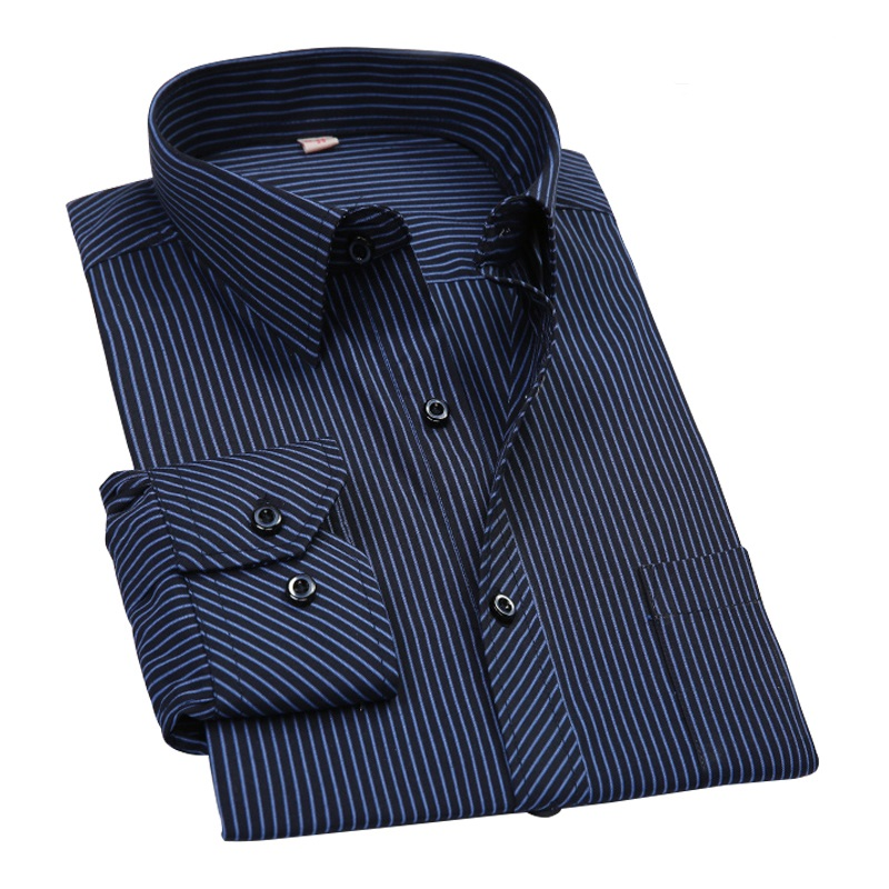 Plus Size 8XL 7XL Men Shirt Mens Business Casual Long Sleeved Slim Fit Shirts Men Striped Dress Work Social Dress Shirt DS022(China)
