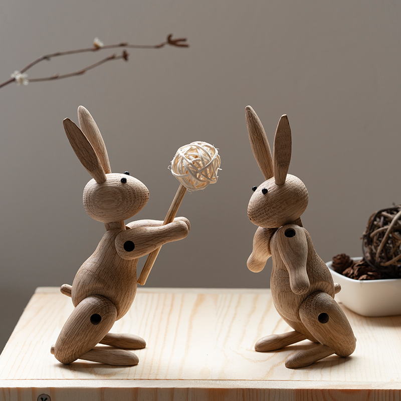 rabbit puppetThe Danish  puppet Nordic wood Home Furnishing ornaments wholesale custom Soft decorations sample room wooden decor