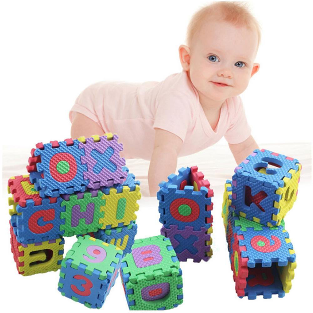 36PCS Foam Floor Mats Children's Cartoon Alphanumeric Crawling Baby 6*6cm Puzzle Kindergarten Cognitive Education Puzzle