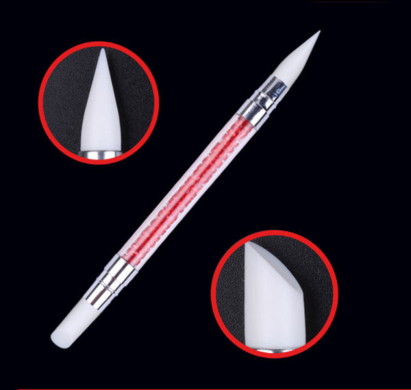 Full Beauty Dual-ended 2 Ways Silicone Nail Art Sculpture Pen 3D Carving DIY Glitter Powder Liquid Manicure Dotting Brush 4