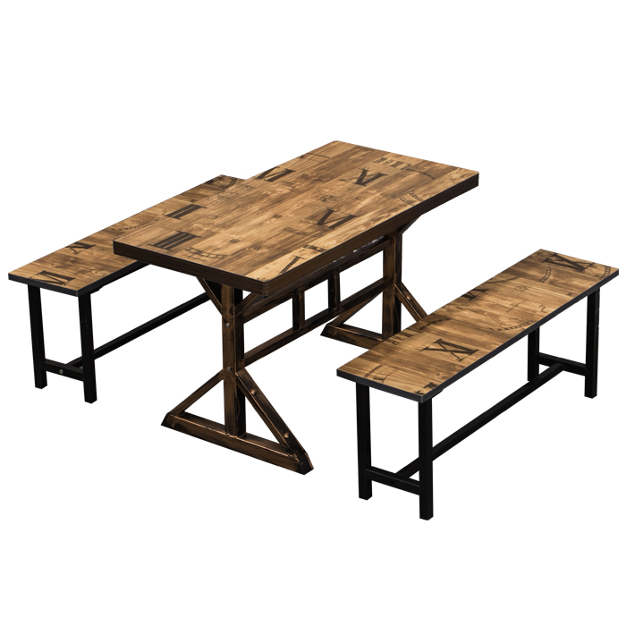 Retro Simple Snack Bar Fast Dining Table And Chair Combination Hot Pot Table And Chair Barbecue Restaurant Economy Noodle Restau