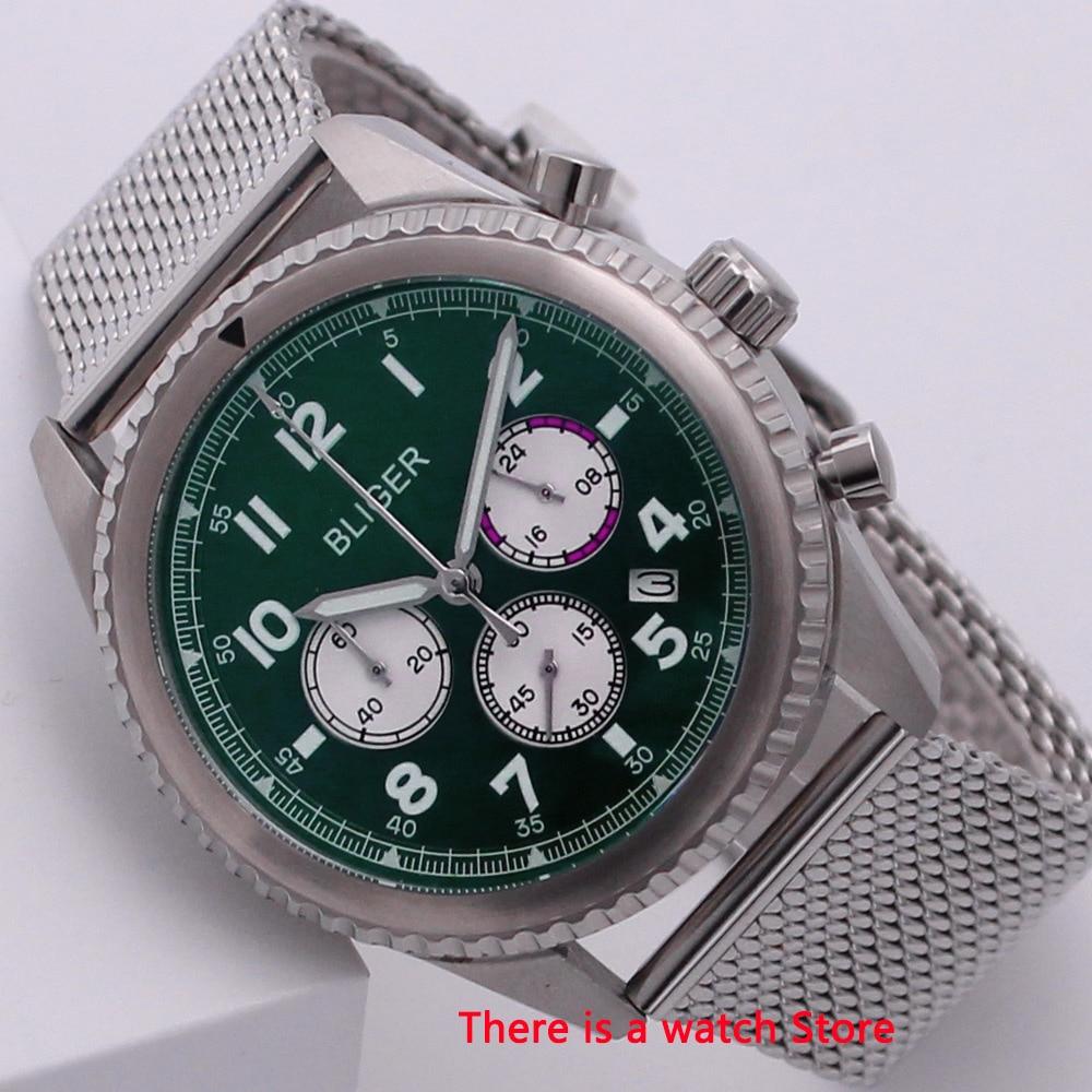 Bliger 45mm Quartz Watch Chronograph Date Function Rotating Bezel 24 Hours Luxury Brand Sport Fashion Men Watch