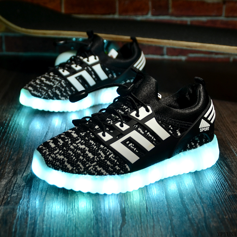 2020 New Kids USB Luminous Sneakers Glowing Children Lights Up Shoes With Led Slippers Girls Illuminated Krasovki Footwear Boys 4