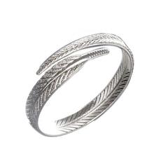 Уникальные женские 925 пробы браслеты с серебряными листьями, открытые браслеты-манжеты и браслеты, ювелирные изделия, браслеты