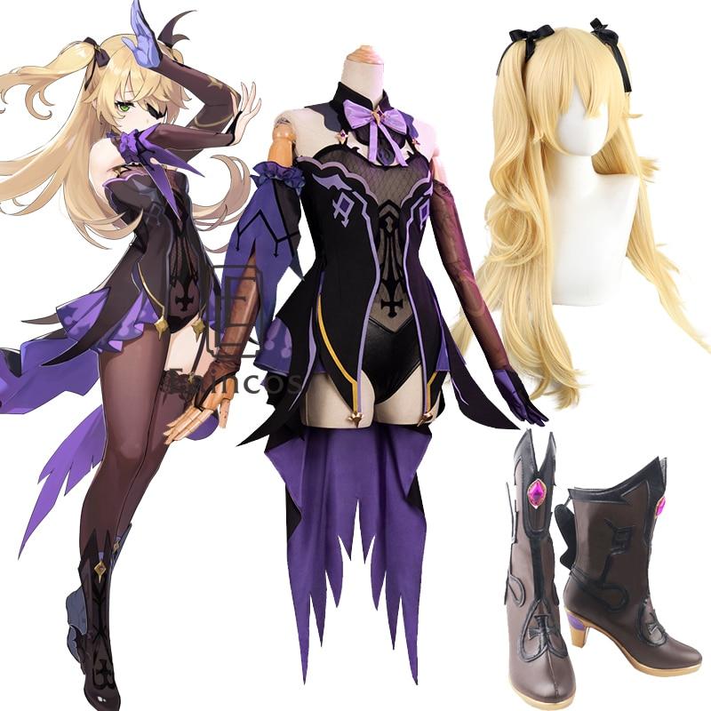 Игровой костюм Genshin Impact Fischl для косплея парики обувь наряды в стиле аниме платье Хэллоуин Карнавальная униформа
