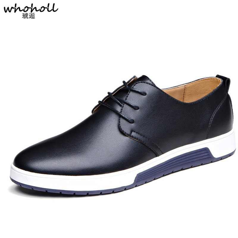 Brand Men Shoes Casual Leather Fashion Trendy Black Blue Brown Flat for Drop Shipping
