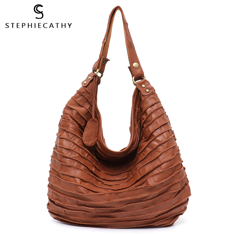 SC Vintage Real Sheep Leather Stripe Hobo Bags For Women Large Genuine Lamp Leather Skin Patchwork Shoulder Tote Crossbody Bag