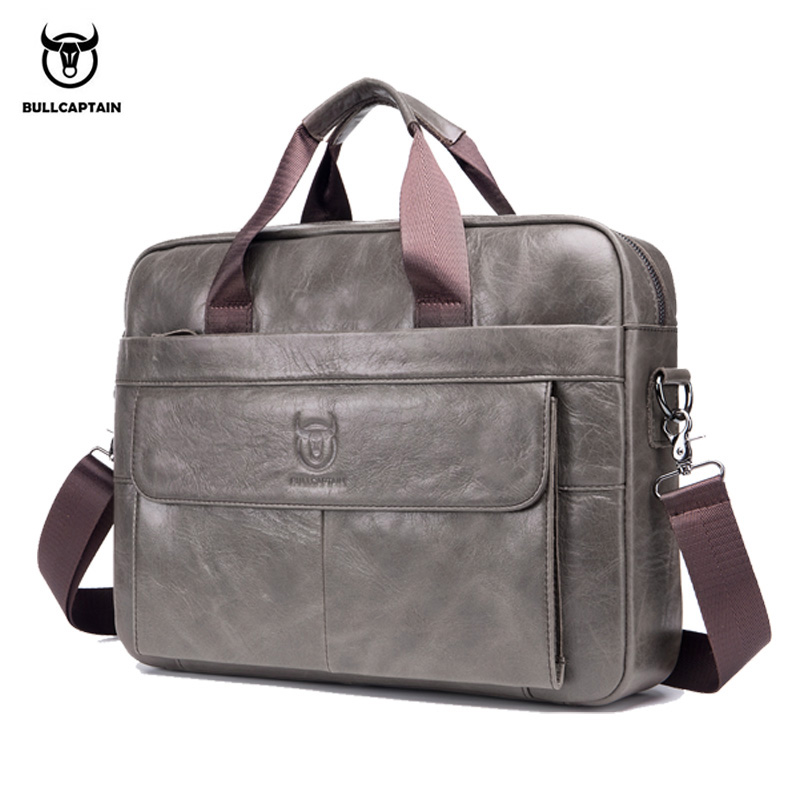 BULLCAPTIAN First Layer Cowhide Laptop Bag 14 Inch Leather Shoulder Bag Business Briefcase Handbag Bag Work Bag Men's Briefcase