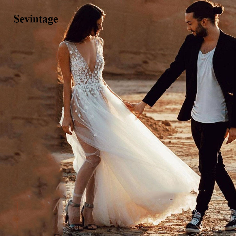Sevintage Vestido De Noiva Sexy Deep V-Neck Sleeveless Wedding Dress Long Lace Appliques Tulle Bridal Gown Vestiti Da Sposa
