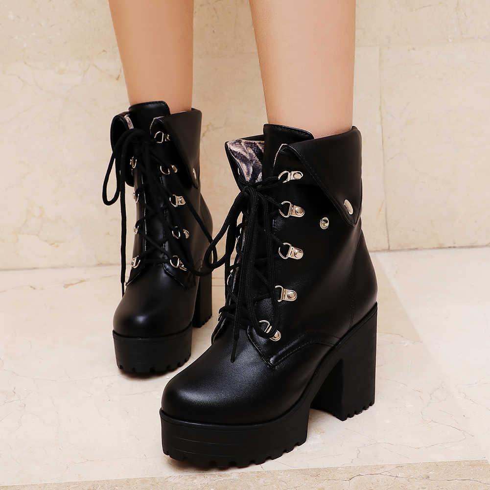 KARINLUNA ขนาดใหญ่ 34-43 New แฟชั่น Lace Up Lady PARTY OL รองเท้าผู้หญิงสีดำรองเท้าข้อเท้าสูง chunky รองเท้าส้นสูงรองเท้าผู้หญิง