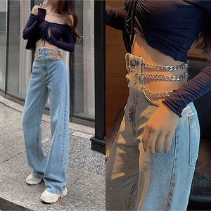 Fashion Jeans Pants Cross-Chain Streetwear-Side Wide-Leg Sexy High-Waist Ladies Hollow-Out