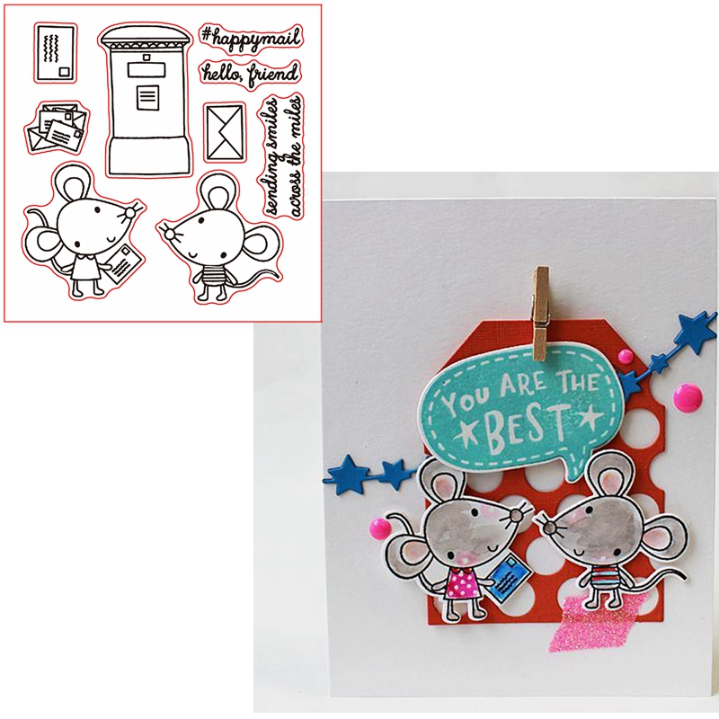 Happy Mice Sending Smiles Clear Transparents Silicone Mice+Phrases For DIY Scrapbooking Card Making