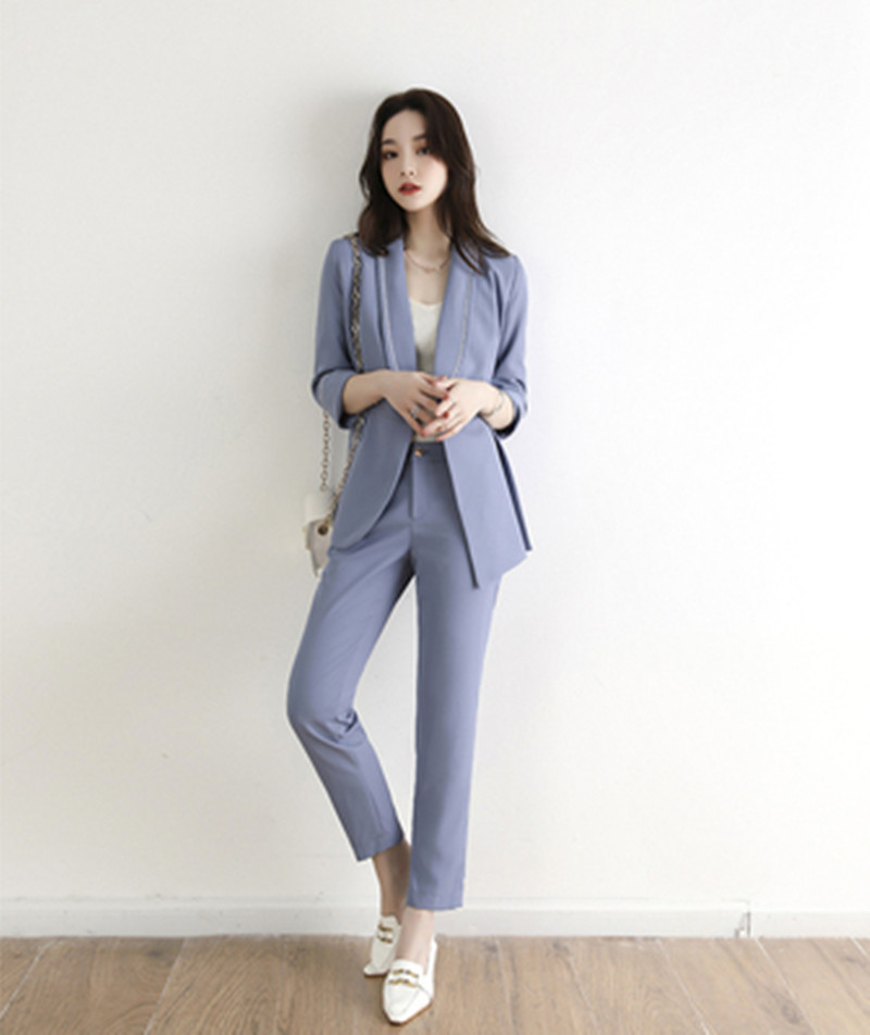 Autumn Pant Suit New High-end Fashion Blazer Jacket Top And Long Pants Business 2 Pieces Sets OL Work Wear Female Sets