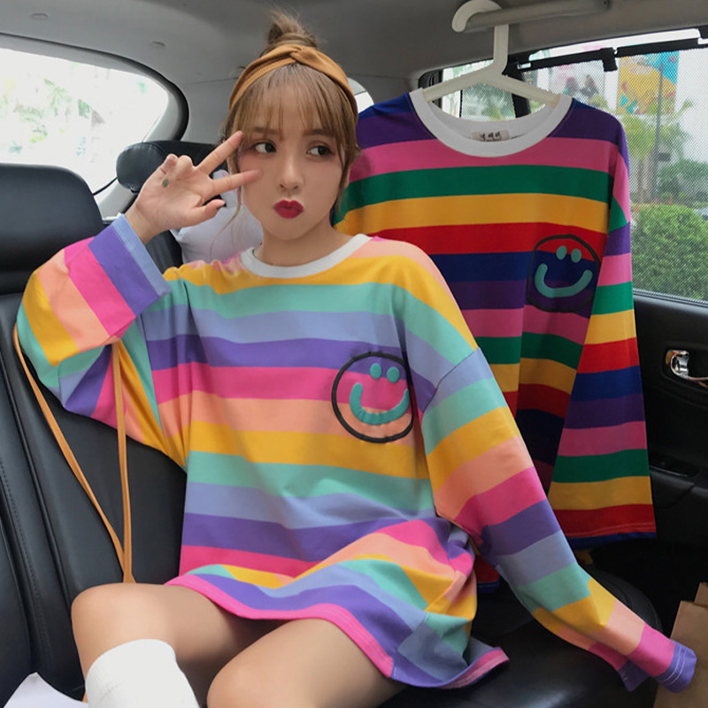Korean Style Autumn Big Size T-shirt For Female Ulzzang Cute Rainbow Stripes T Shirts Harajuku Loose Women Tops O-Neck Tee Shirt