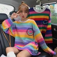 korean style autumn big size T-shirt for Female Ulzzang cute Rainbow stripes T Shirts Harajuku loose Women Tops O-Neck Tee Shirt