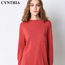 CYNTHIA 2020 New Style Spring Origional Loose Knitwear Long Sleeve Sweater Half-Turtle-Neck-Style Pullover Knitted Shirt WOMEN'S(China)