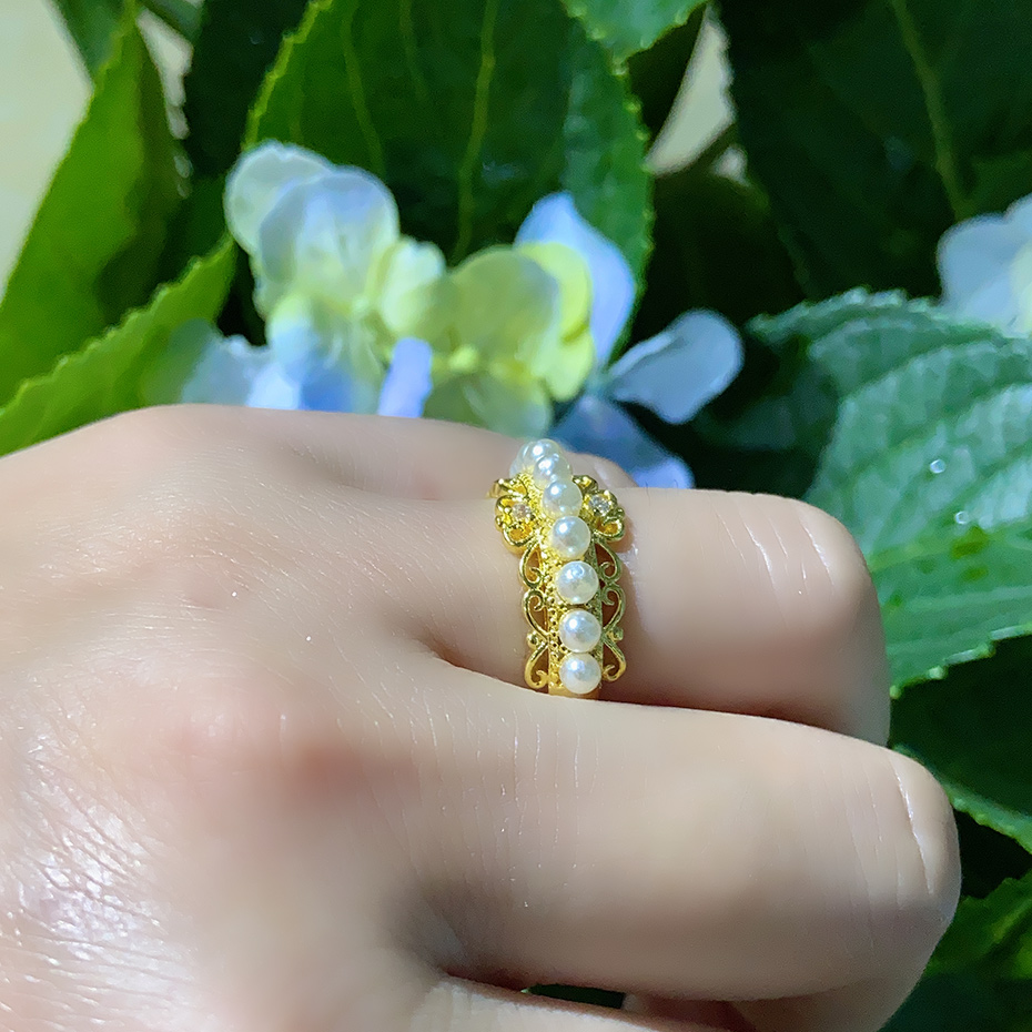 Image 5 - Kuololit 100% Diamonds 10K Yellow Gold Rings for Women Natural Freshwater pearl Ring for Engagement Wedding Bride anniversaryRings   -