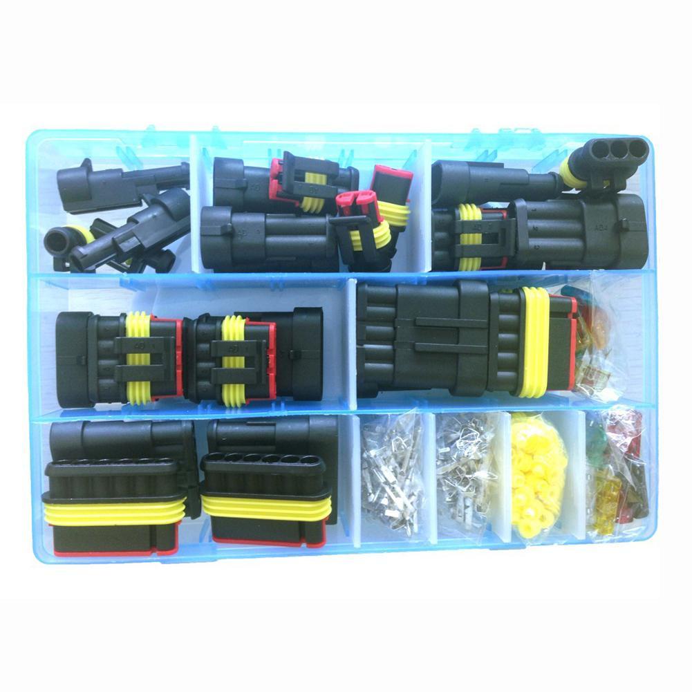 240 шт. проводка сиденья автомобиля водонепроницаемый соединитель мужской женский штырь/гнездо проводки весна терминал набор - Цвет: Black