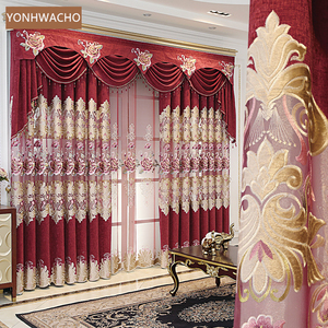 Custom curtains European chenille living room hollow embroidered shading red cloth blackout curtain tulle valance drape C361