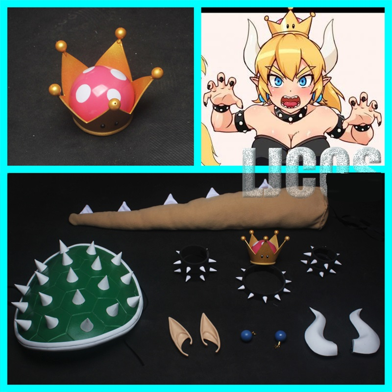 Super Mario Brothers Princess Peach Crown and Brooch Costume Accessory Props