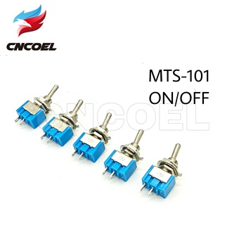 5pcs MTS-101 2 Pin SPST Switch ON-OFF 2 Position 6A 250V AC Mini Electrical Toggle Switches 6MM Mounting Hole 50 pcs off on mts 102 3 pin 2 position mini latching toggle switch spdt ac 125v 6a 250v 3a