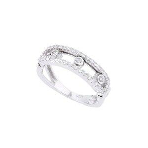 Хит продаж, сверкающее подвижное декоративное кольцо из циркона для женщин, Настоящее серебро 925 пробы, модное дизайнерское кольцо