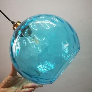 Image 3 - Современный стеклянный подвесной светильник в стиле лофт синего цвета, светодиодный винтажный скандинавский подвесной светильник E27 с 3 размерами для спальни, лобби, ресторана, офиса