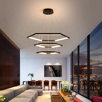 Minimalist Contemporary Black/White/Gold Hexagon LED Chandelier Light with Remote Control for Bedroom Living Dinning Room Decor